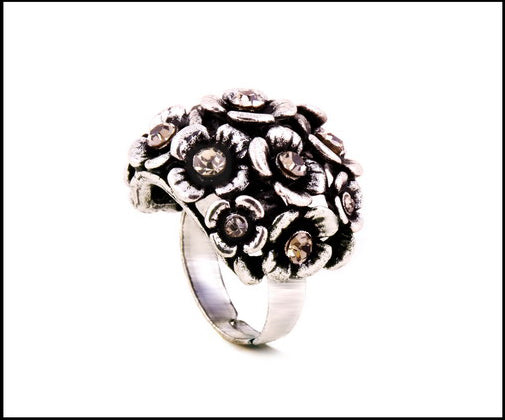 Flower shrub crystal inlaid adjustable ring