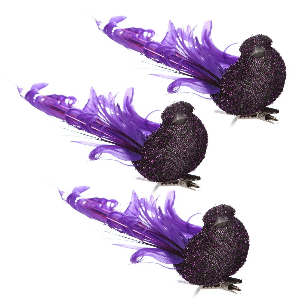 Pack of three purple glitter birds with feathers