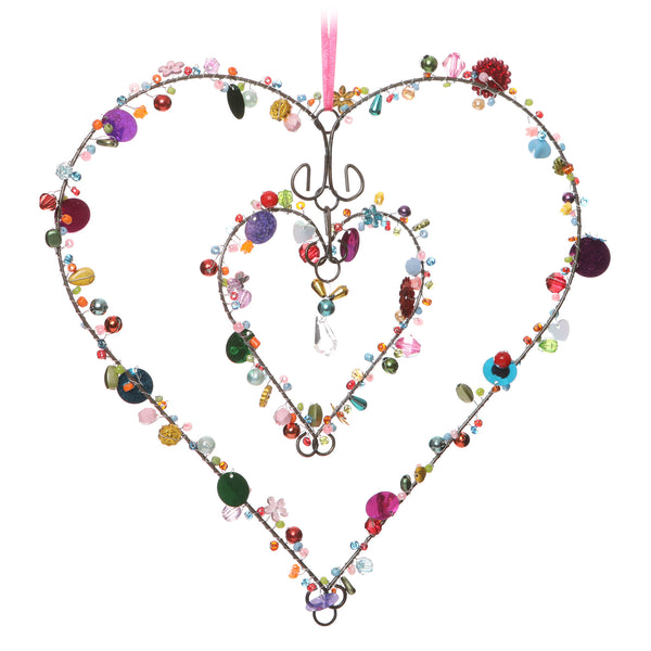 mutlicoloured beaded wire heart hanging decoration