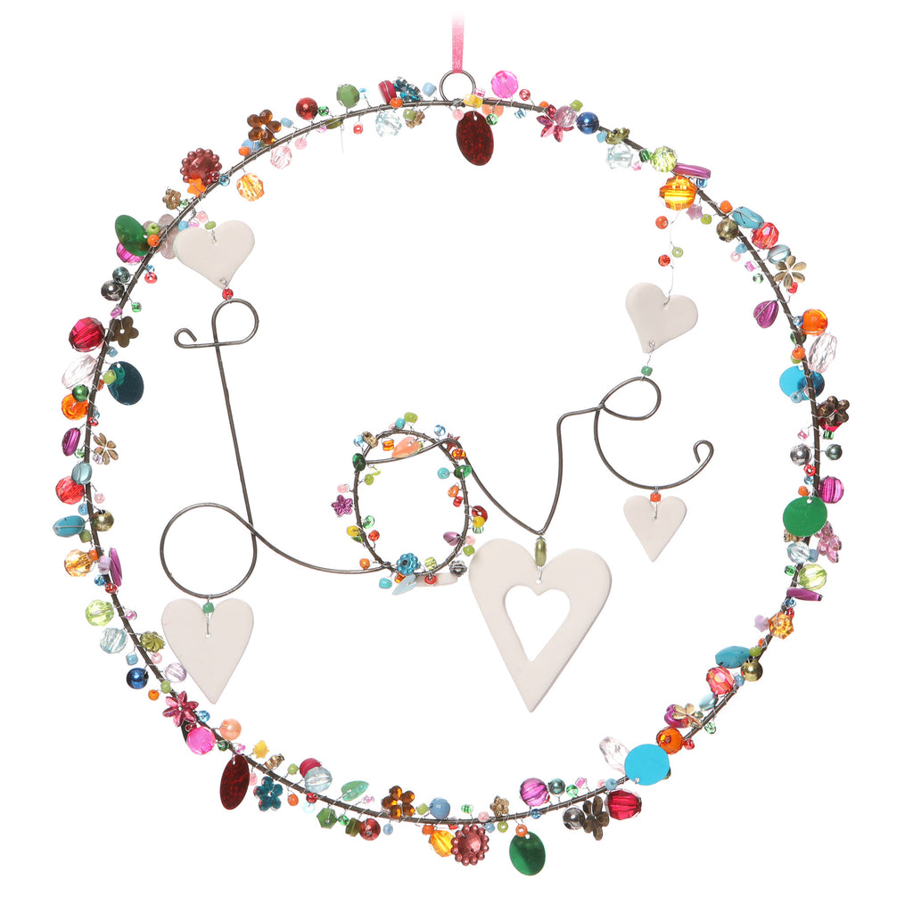 multicoloured beaded hanging decoration with 'Love' in wire