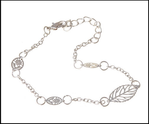 Silver Plated Leaf Anklet