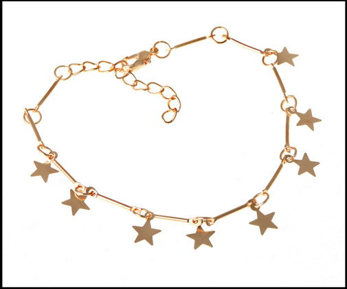 Silver plated star charms anklet