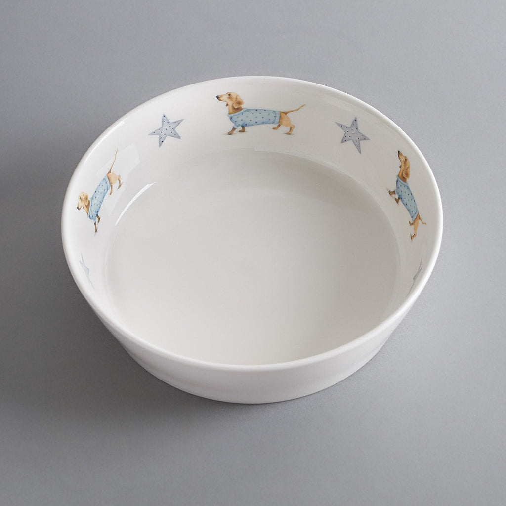 Bone china dog bowl with Sausage Dog