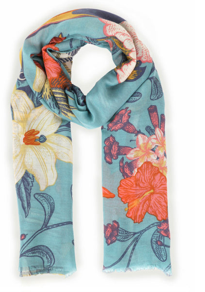 Tropical Birds Print Scarf