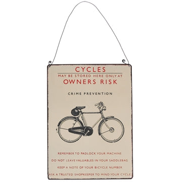 Retro Bicycle Metal Sign with bicycle image