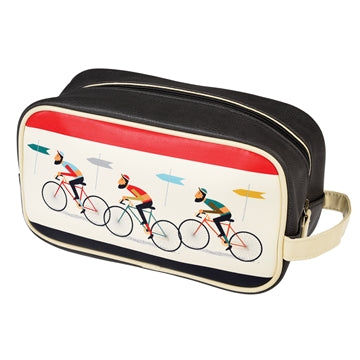 Three Men on Bicycles on white and black wash bag