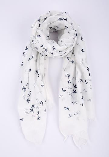Blue Mini Bird Print Scarf