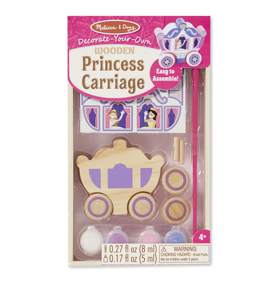 princess wooden carriage with paints and stickers