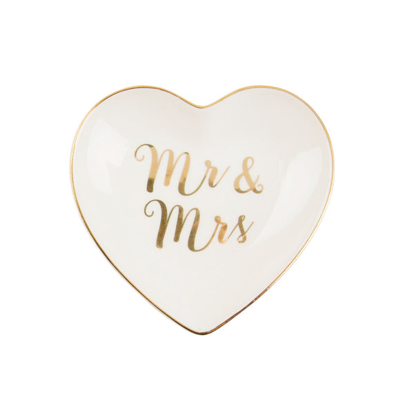 Mr & Mrs Gold Heart Trinket Dish