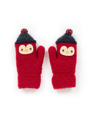 Kids Woolly Penguin Mittens 2 Colours