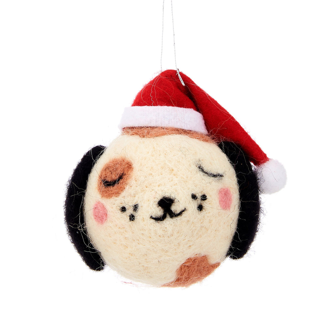 CHRISTMAS BARNEY DOG HANGING FELT BAUBLE