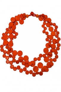 3 Strand Cascade Necklace - Orange