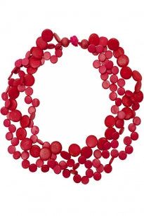 3 Strand Cascade Necklace - Fuchsia