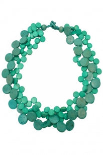 3 Strand Cascade Necklace - Turquoise
