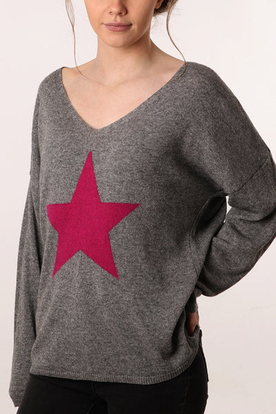 Cashmere Blend Star Jumper Grey/Fuschia