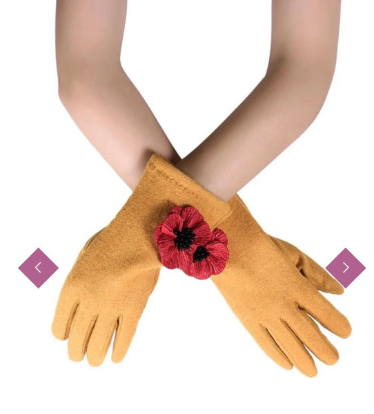 3D Poppy Touch screen gloves