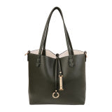 Black Leather reversible tote bag