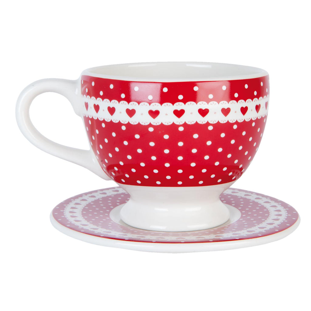 Red Spotted Cup & Saucer