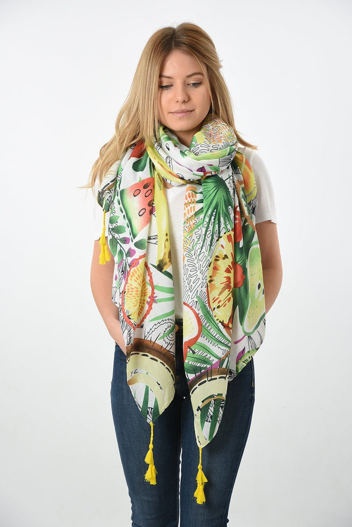 Tropical fruits scarf