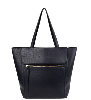 Large Black Tote over shoulder Bag with external zip pocket