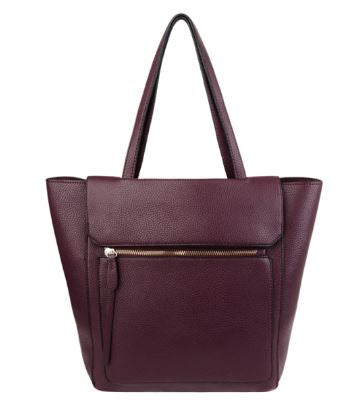 Darcy Large Tote Bag with external zip pocket PLUM