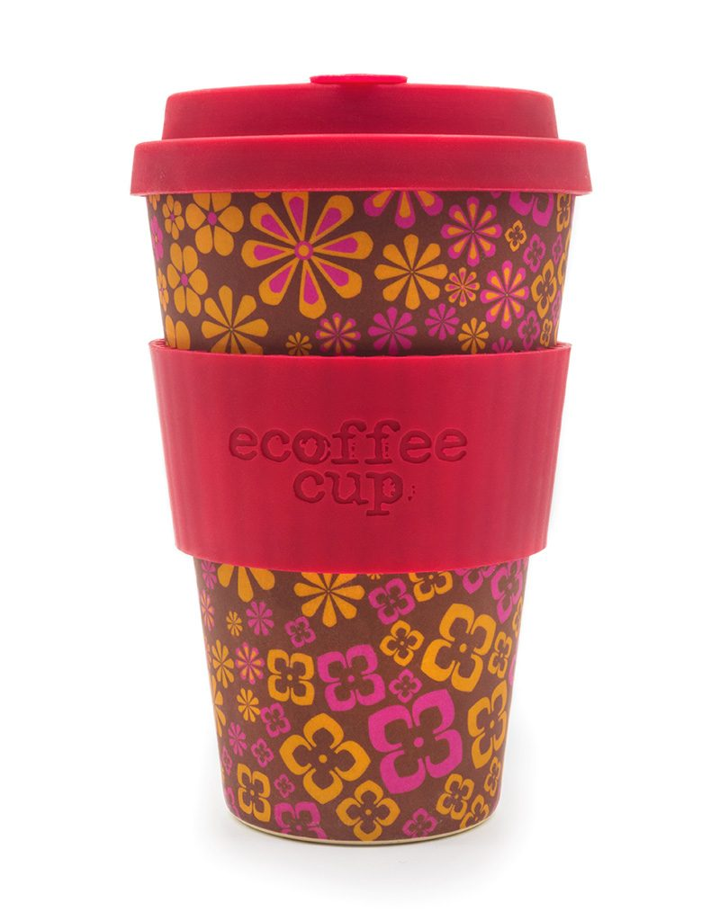 Reusable eCoffee Travel Cup in Pink and Yellow flower design