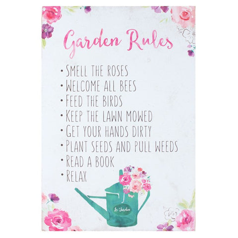 FLORAL FUSION GARDEN RULES SIGN