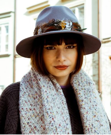 Feather Band Wool Hat