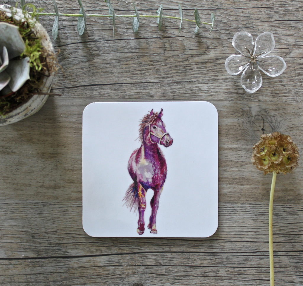 Pink Horse Coaster Pack on white background