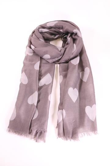 Grey Heart Print Scarf