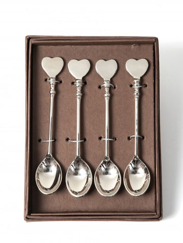 Set of 4 Heart Coffee Spoons