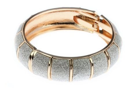 Rose Gold & Silver Glitter Cuff Bangle