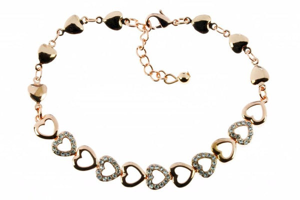 Rose Gold Heart Link Bracelet