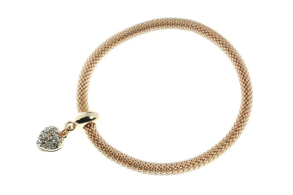 Rose Gold Mesh Crystal Heart Bracelet