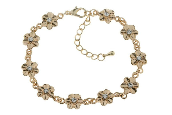 Rose Gold Flower Bracelet on chain