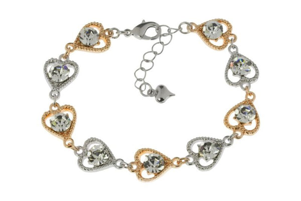 Rose Gold/Silver Crystal Heart Bracelet