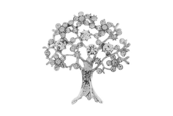 Silver Crystal Tree Brooch