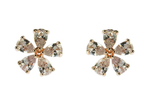Crystal Rose Gold Flower Earrings