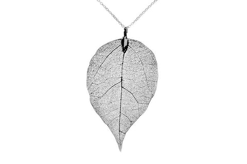 Silver Leaf Print Necklace
