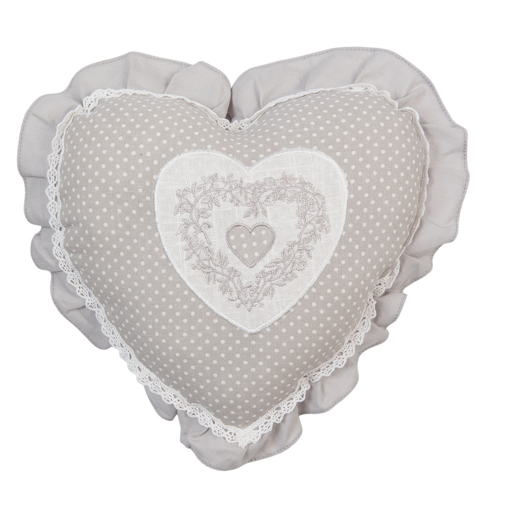 Grey spotted heart shape cushion