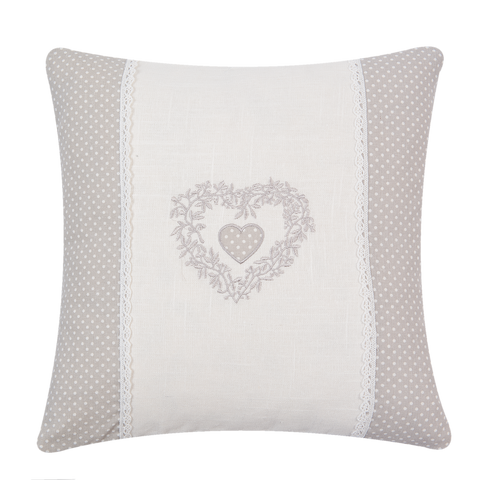 40x40cm Shabby Chic Cushion Heart/Stripe