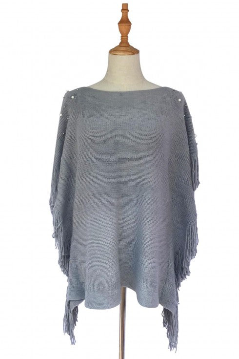 Pearl & Bead Shoulder Knitted Poncho