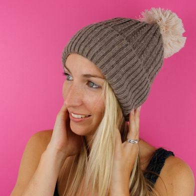 Taupe Knitted Pompom Hat