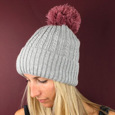 Grey wool knit hat with pink pompom