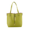 Lime Green Leather reversible tote bag