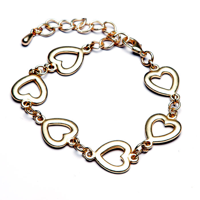 Matt Gold Heart Link Bracelet