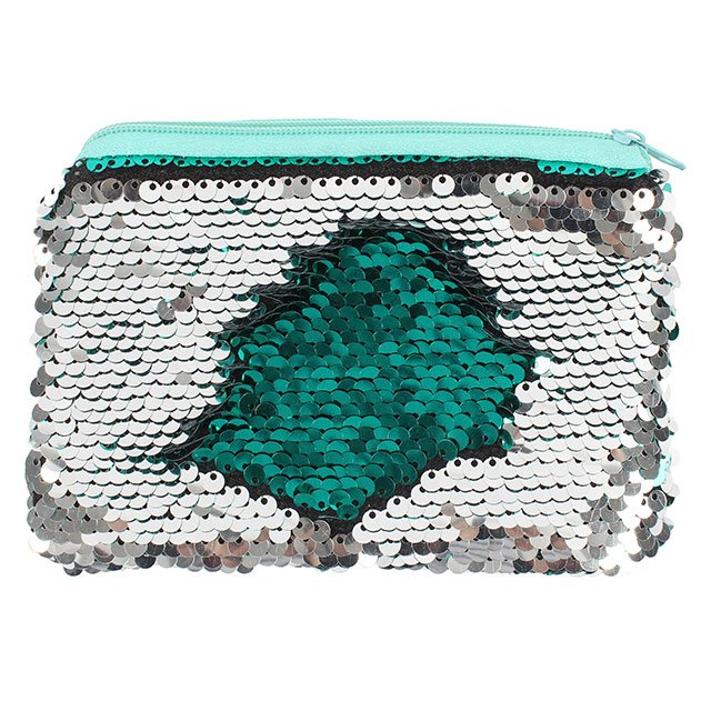 silver sequin to green sequin purse