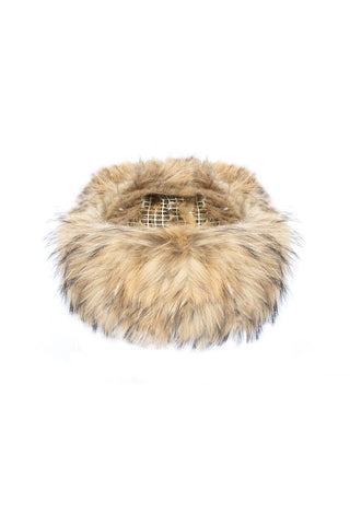 Luxury fox fur headband Mocha