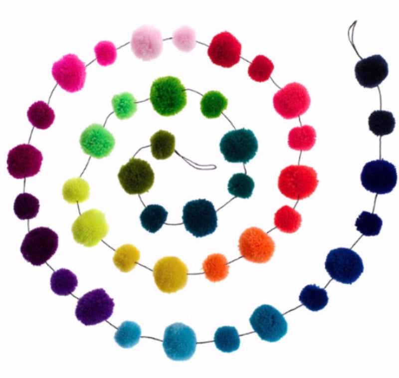 multicoloured pompom garland