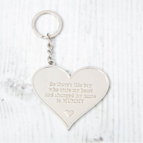 Silver Heart Keyring - Mummy Boy